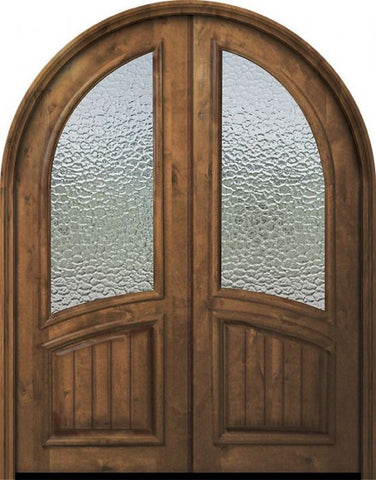 WDMA 72x96 Door (6ft by 8ft) Exterior Knotty Alder 36in x 96in Double Round Top V-Grooved Panel Estancia Alder Door 1
