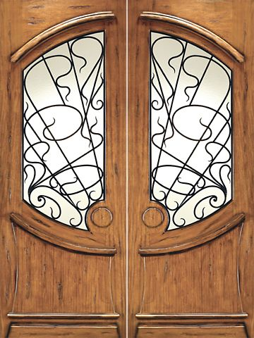 WDMA 72x96 Door (6ft by 8ft) Exterior Mahogany AN-2001-2 Hand Carved Art Nouveau Forged iron Glass Entry Double Door 1