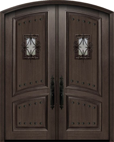 WDMA 72x96 Door (6ft by 8ft) Exterior Mahogany 36in x 96in Double Arch Top 2 Panel Portobello Door with Speakeasy / Clavos 1