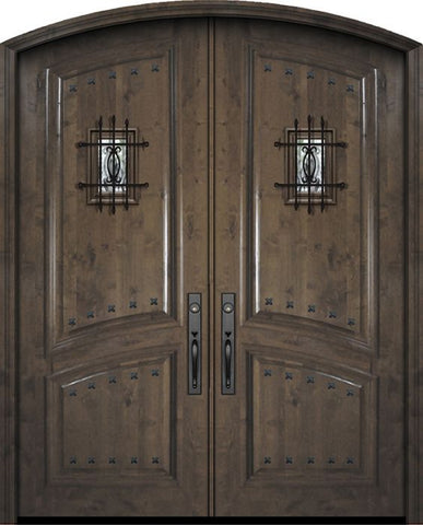 WDMA 72x96 Door (6ft by 8ft) Exterior Knotty Alder 36in x 96in Double Arch Top 2 Panel Estancia Alder Door with Speakeasy / Clavos 1