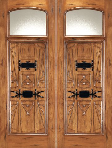 WDMA 72x96 Door (6ft by 8ft) Exterior Mahogany AN-2003-2 Hand Carved Art Nouveau Forged iron Glass Entry Double Door 1