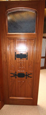 WDMA 72x96 Door (6ft by 8ft) Exterior Mahogany AN-2003-2 Hand Carved Art Nouveau Forged iron Glass Entry Double Door 3