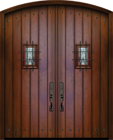 WDMA 72x96 Door (6ft by 8ft) Exterior Mahogany 96in Double Plank Arch Top Door with Speakeasy / Clavos 1