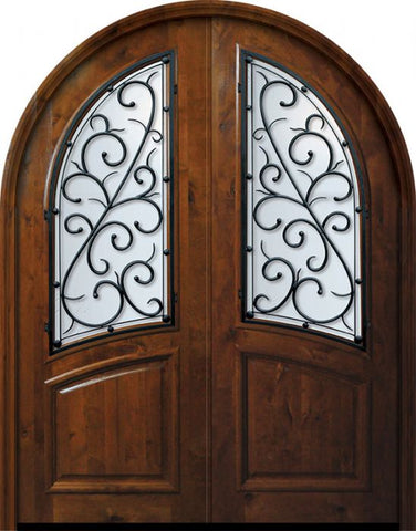 WDMA 72x96 Door (6ft by 8ft) Exterior Knotty Alder 36in x 96in Double Round Top Bellagio Alder Door 1