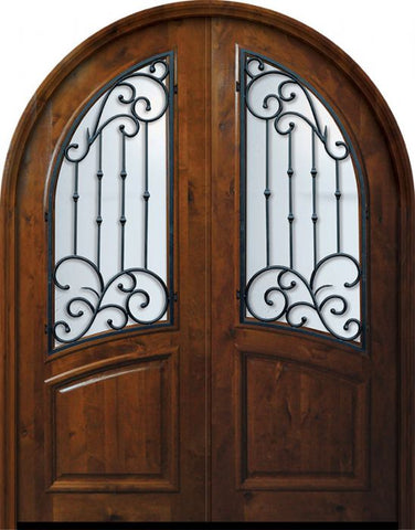 WDMA 72x96 Door (6ft by 8ft) Exterior Knotty Alder 36in x 96in Double Round Top Catalina Alder Door 1