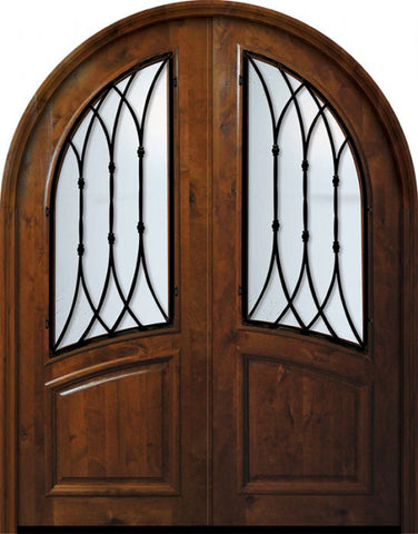WDMA 72x96 Door (6ft by 8ft) Exterior Knotty Alder 36in x 96in Double Round Top Warwick Alder Door 1