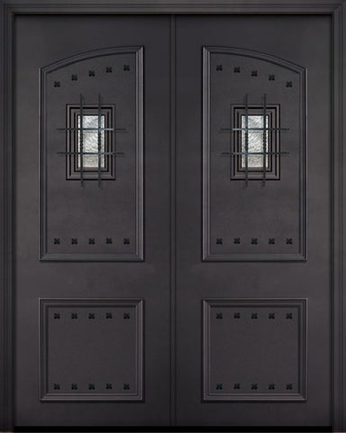 WDMA 72x96 Door (6ft by 8ft) Exterior 96in ThermaPlus Steel 2 Panel Square Top Double Door with Speakeasy / Clavos 1
