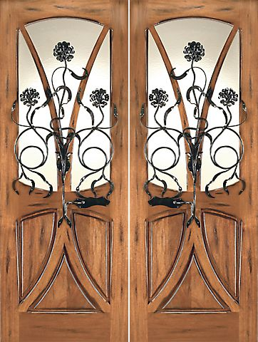 WDMA 72x96 Door (6ft by 8ft) Exterior Mahogany AN-2004-2 Tree Lite Hand Carved Art Nouveau Double Door Forged Iron 1