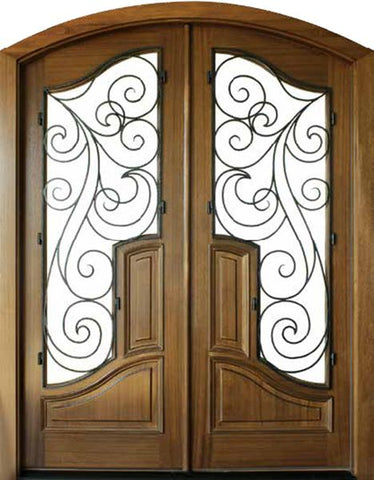 WDMA 72x96 Door (6ft by 8ft) Exterior Swing Mahogany Hampshire Double Door/Arch Top Renaissance 1