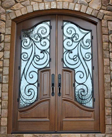 WDMA 72x96 Door (6ft by 8ft) Exterior Swing Mahogany Hampshire Double Door/Arch Top Renaissance 2