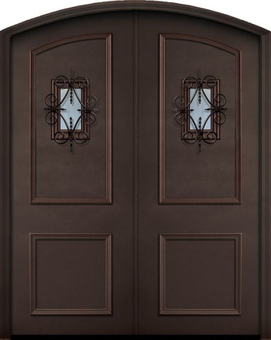 WDMA 72x96 Door (6ft by 8ft) Exterior 96in ThermaPlus Steel 2 Panel Arch Top Double Door with Speakeasy 1