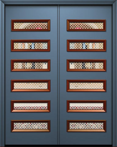 WDMA 72x96 Door (6ft by 8ft) Exterior 96in ThermaPlus Steel Beverly Contemporary Double Door w/Metal Grid / Clear Glass 1