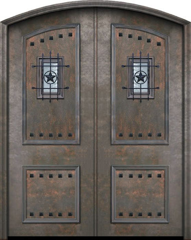 WDMA 72x96 Door (6ft by 8ft) Exterior 96in ThermaPlus Steel 2 Panel Arch Top Double Door with Speakeasy / Clavos 1