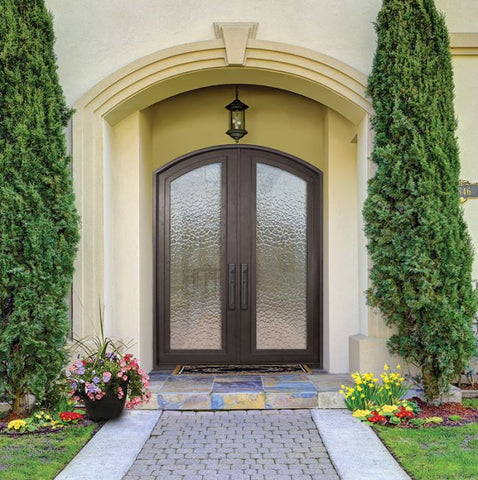 WDMA 72x96 Door (6ft by 8ft) French 96in Full Lite Arch Top Double Privacy Glass Entry Door 2