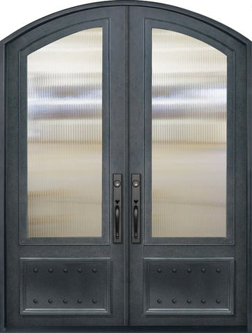 WDMA 72x96 Door (6ft by 8ft) Exterior 96in 3/4 Lite Arch Top Double Privacy Glass Entry Door 1