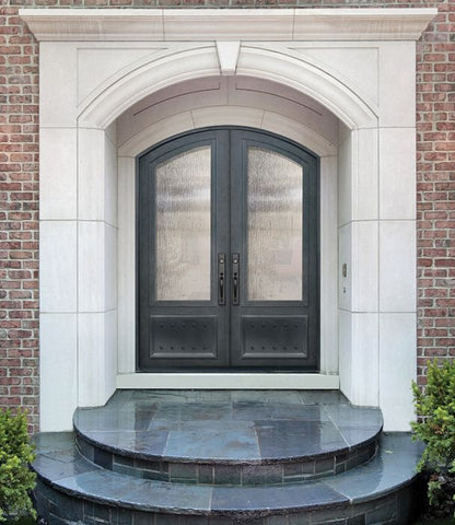 WDMA 72x96 Door (6ft by 8ft) Exterior 96in 3/4 Lite Arch Top Double Privacy Glass Entry Door 2