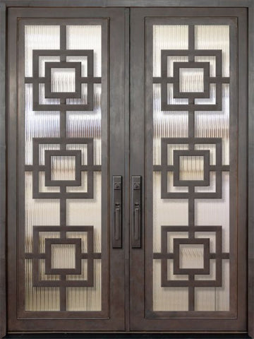 WDMA 72x96 Door (6ft by 8ft) Exterior 96in Moderne Full Lite Double Contemporary Entry Door 1