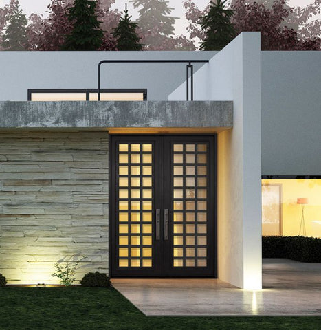 WDMA 72x96 Door (6ft by 8ft) Exterior 96in Cube Full Lite Double Contemporary Entry Door 2