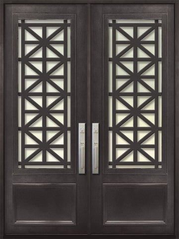 WDMA 72x96 Door (6ft by 8ft) Exterior 96in Contempo 3/4 Lite Double Contemporary Entry Door 1