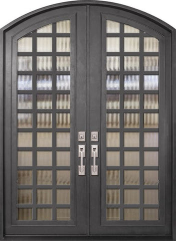 WDMA 72x96 Door (6ft by 8ft) Exterior 96in Cube Full Lite Arch Top Double Contemporary Entry Door 1