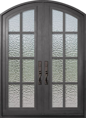 WDMA 72x96 Door (6ft by 8ft) Exterior 96in Minimal Full Lite Arch Top Double Contemporary Entry Door 1