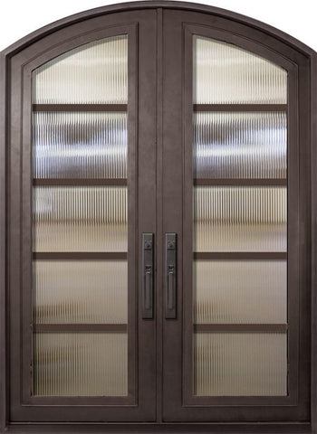 WDMA 72x96 Door (6ft by 8ft) Exterior 96in Urban-5 Full Lite Arch Top Double Contemporary Entry Door 1