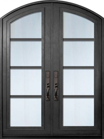 WDMA 72x96 Door (6ft by 8ft) Exterior 96in Urban-4 Full Lite Arch Top Double Contemporary Entry Door 1