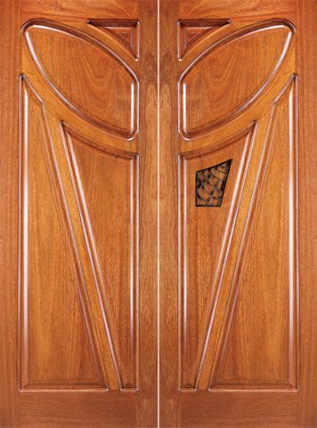 WDMA 72x96 Door (6ft by 8ft) Exterior Mahogany Double Solid Doors Operable Speakeasy 1