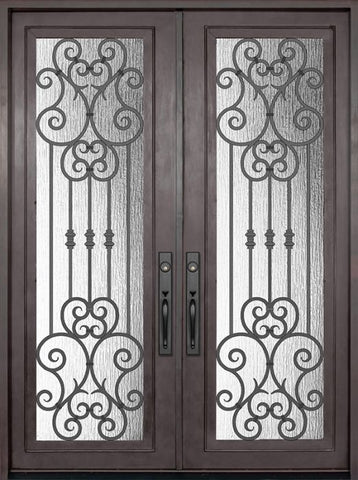 WDMA 72x96 Door (6ft by 8ft) Exterior 96in Marbella Full Lite Double Wrought Iron Entry Door 1
