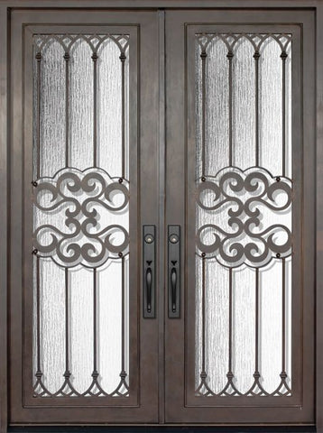 WDMA 72x96 Door (6ft by 8ft) Exterior 96in Tivoli Full Lite Double Wrought Iron Entry Door 1