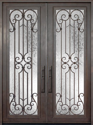 WDMA 72x96 Door (6ft by 8ft) Exterior 96in Milano Full Lite Double Wrought Iron Entry Door 1