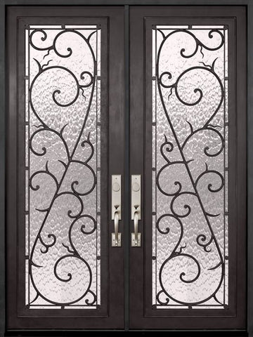 WDMA 72x96 Door (6ft by 8ft) Exterior 96in Bellagio Full Lite Double Wrought Iron Entry Door 1