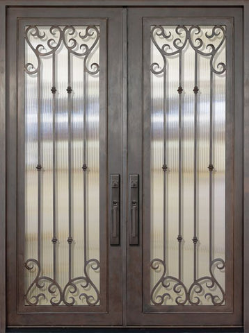 WDMA 72x96 Door (6ft by 8ft) Exterior 96in Valencia Full Lite Double Wrought Iron Entry Door 1