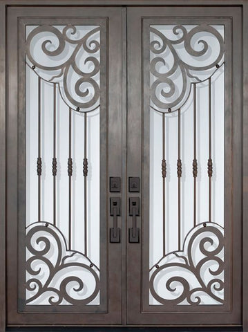 WDMA 72x96 Door (6ft by 8ft) Exterior 96in Barcelona Full Lite Double Wrought Iron Entry Door 1