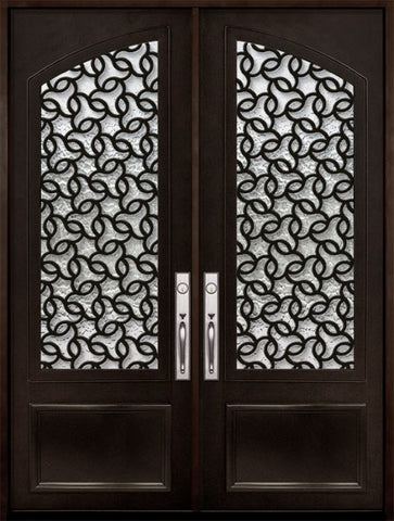 WDMA 72x96 Door (6ft by 8ft) Exterior 96in Arte 3/4 Arch Lite Double Contemporary Entry Door 1
