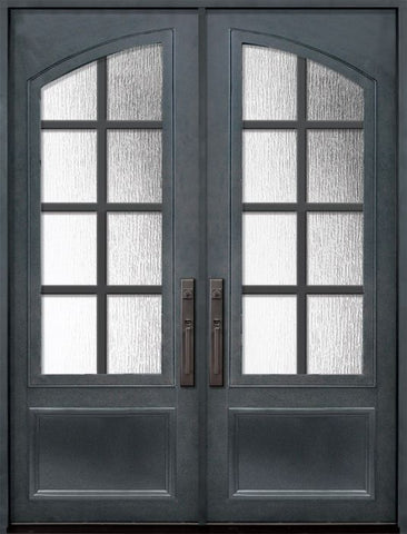 WDMA 72x96 Door (6ft by 8ft) Exterior 96in Minimal 3/4 Arch Lite Double Contemporary Entry Door 1