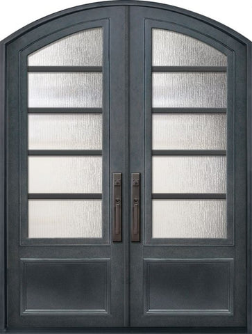 WDMA 72x96 Door (6ft by 8ft) Exterior 96in Urban-5 3/4 Lite Arch Top Double Contemporary Entry Door 1