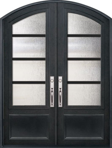 WDMA 72x96 Door (6ft by 8ft) Exterior 96in Urban-4 3/4 Lite Arch Top Double Contemporary Entry Door 1