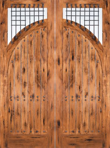 WDMA 72x96 Door (6ft by 8ft) Exterior Knotty Alder Victorian Solid Double Entry Doors Forged Iron 1