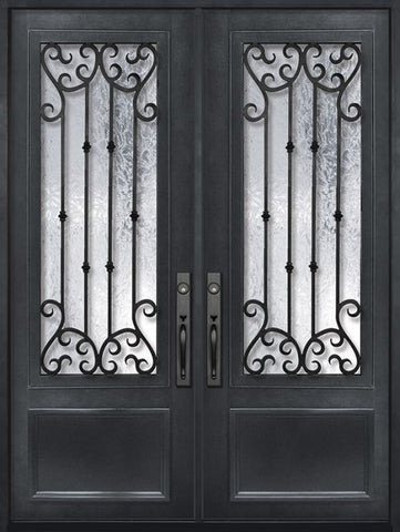 WDMA 72x96 Door (6ft by 8ft) Exterior 96in Valencia 3/4 Lite Double Wrought Iron Entry Door 1