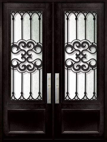 WDMA 72x96 Door (6ft by 8ft) Exterior 96in Tivoli 3/4 Lite Double Wrought Iron Entry Door 1
