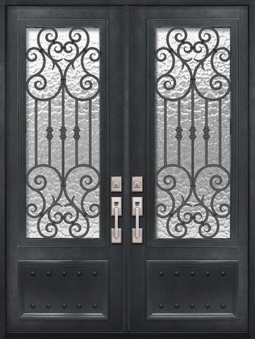 WDMA 72x96 Door (6ft by 8ft) Exterior 96in Marbella 3/4 Lite Double Wrought Iron Entry Door 1