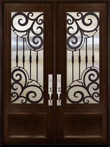 WDMA 72x96 Door (6ft by 8ft) Exterior 96in Barcelona 3/4 Lite Double Wrought Iron Entry Door 1