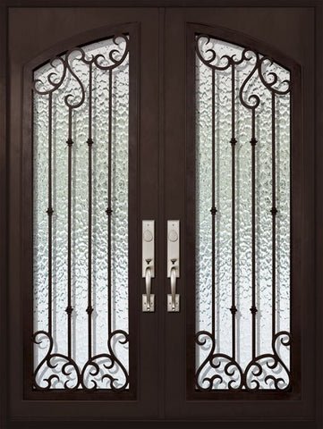 WDMA 72x96 Door (6ft by 8ft) Exterior 96in Valencia Full Arch Lite Double Wrought Iron Entry Door 1