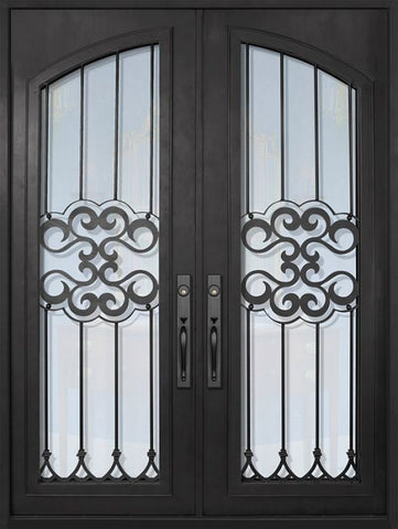 WDMA 72x96 Door (6ft by 8ft) Exterior 96in Tivoli Full Arch Lite Double Wrought Iron Entry Door 1