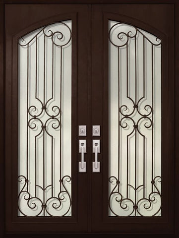 WDMA 72x96 Door (6ft by 8ft) Exterior 96in Milano Full Arch Lite Double Wrought Iron Entry Door 1