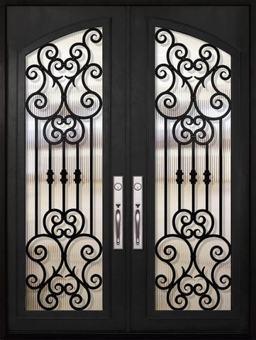 WDMA 72x96 Door (6ft by 8ft) Exterior 96in Marbella Full Arch Lite Double Wrought Iron Entry Door 1