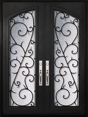 WDMA 72x96 Door (6ft by 8ft) Exterior 96in Bellagio Full Arch Lite Double Wrought Iron Entry Door 1