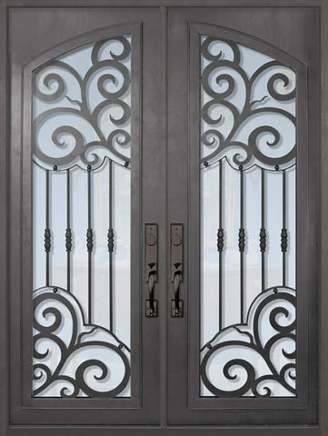 WDMA 72x96 Door (6ft by 8ft) Exterior 96in Barcelona Full Arch Lite Double Wrought Iron Entry Door 1