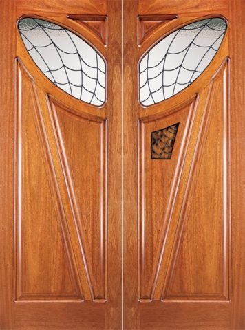 WDMA 72x96 Door (6ft by 8ft) Exterior Mahogany Double Glass Doors Solid Operable Speakeasy 1